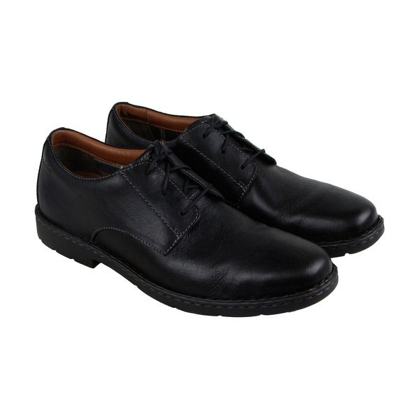 Clarks Stratton Way Mens Black Leather Casual Dress Lace Up Oxfords Shoes