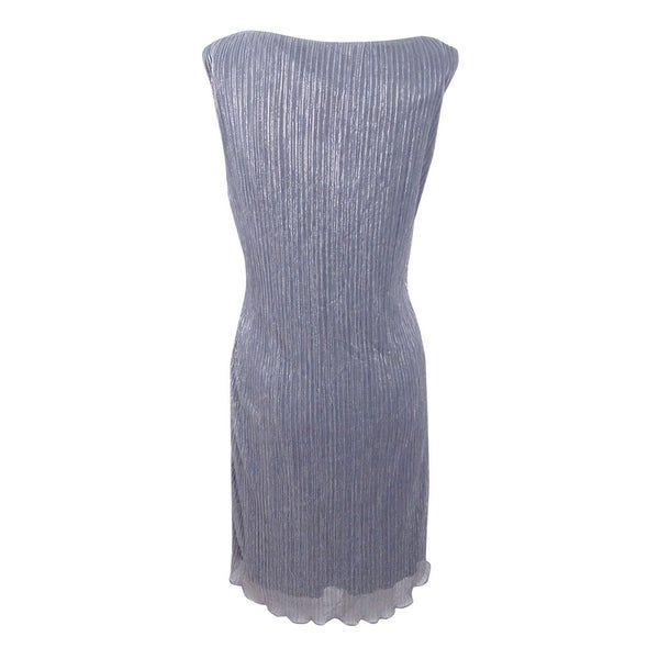 Connected Women/'s Plus Size Metallic Tiered Sleeveless Dress