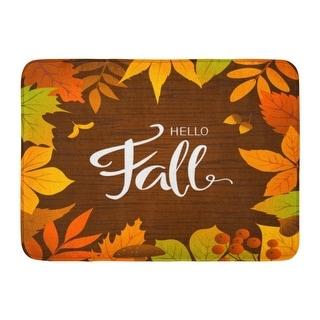 Link to Brown Happy Hello Fall Seasonal Autumn Leaves Yellow Acorn Border Festival Doormat Floor Rug Bath Mat 23.6X15.7 Inch - Multi Similar Items in Decorative Accessories