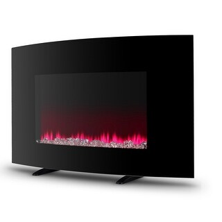 "Della 35"" inch 2-in-1 Wall Mount & Electric Free Standing Curved Fireplace Heater 3 Color Flame w/ Remote, 1400w"