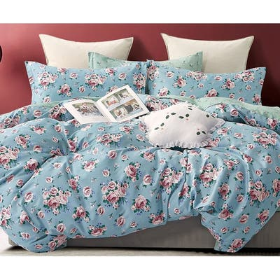 Anna Rose Blue/Pink 100% Cotton Reversible Comforter Set