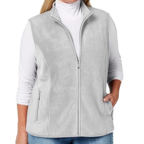 Karen Scott Women's Sweater Gray Size 1X Plus Zeroproof Fleece Vest