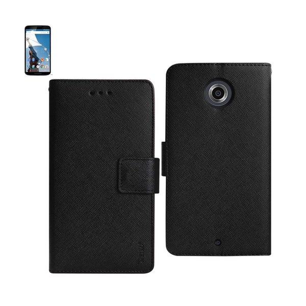 REIKO MOTOROLA NEXUS 6 3-IN-1 WALLET CASE IN BLACK