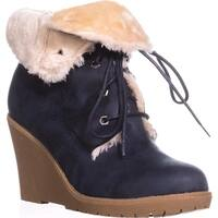 Dolce by mojo moxy Fresco Wedge Ankle Boot Booties, Navy - 11 us