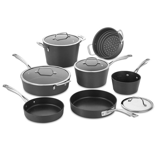Cuisinart 62I-11 Chef's Classis 11-Piece Conical Hard Anodized Non-Stick Cookware Set, Black