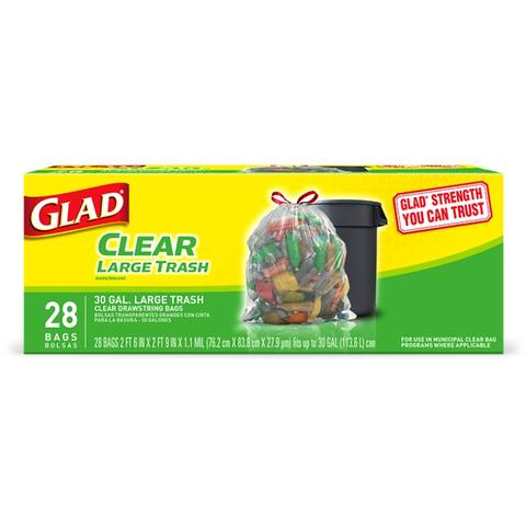 Glad 78545 Recycling Tall Kitchen Drawstring Clear Bags, 30 Gallon, 28 Count