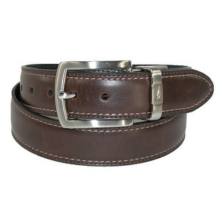 Nautica Boys' Leather Reversible Padded Belt with Feather Edge - brown / black