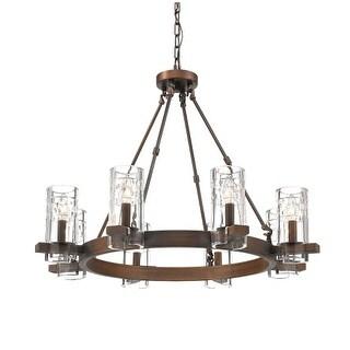 "Millennium Lighting 808 Tulsa 8 Light 31"" Wide Chandelier with Glass Shades - Rubbed bronze"