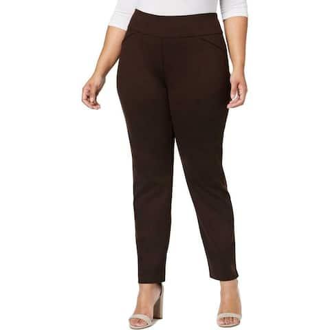 Charter Club Womens Pants Brown Size 20W Plus Slim Tummy-Smooth Stretch