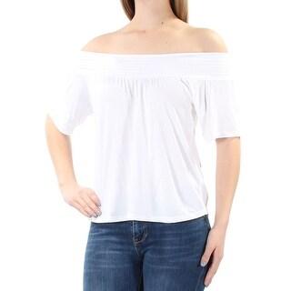 ULTRA FLIRT Womens New 1248 White Off Shoulder Short Sleeve Top M Juniors B+B