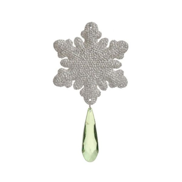 """6"""" Silver Snowflake With Green Jewel Christmas Ornament"""