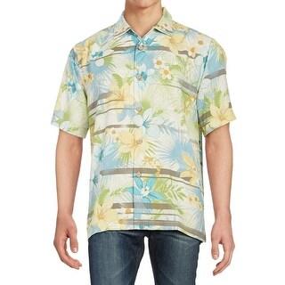 Tommy Hilfiger NEW Green Mens Size 2XL Floral Hawaiian Silk Shirt