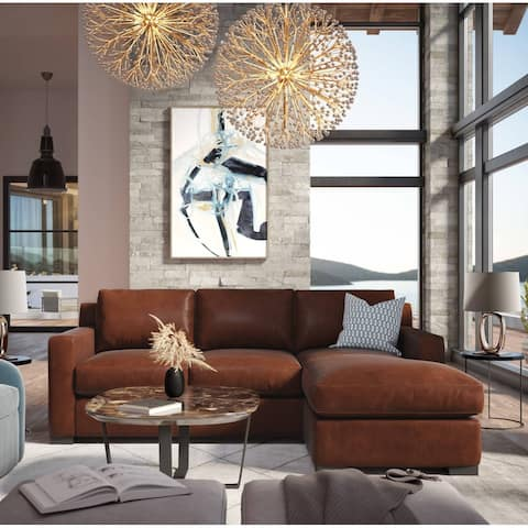 Santiago 100% Top Grain Leather Mid-century Modular Sectional with Chaise