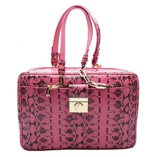 Versace Reptile Pattern Leather Satchel Handbag - Pink - S