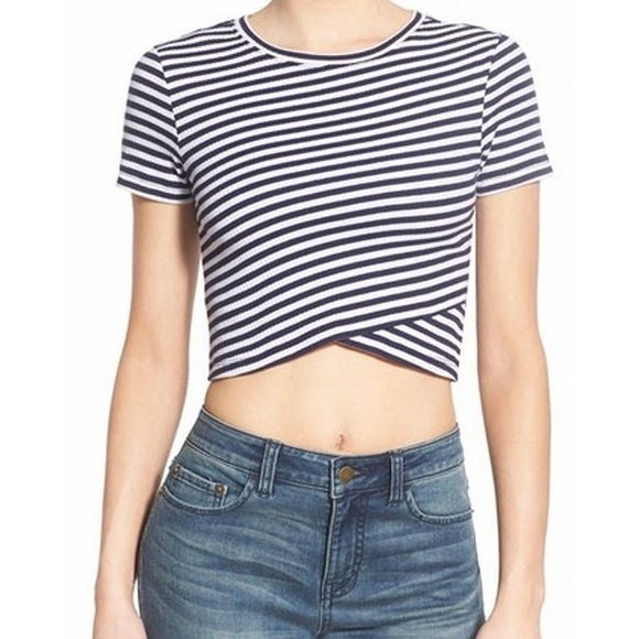 9d46dee3aff NEW Navy Blue White Size Medium M Junior Ribbed Striped Knit Crop Top 512 -  Free Shipping On Orders Over $45 - Overstock.com - 17790040