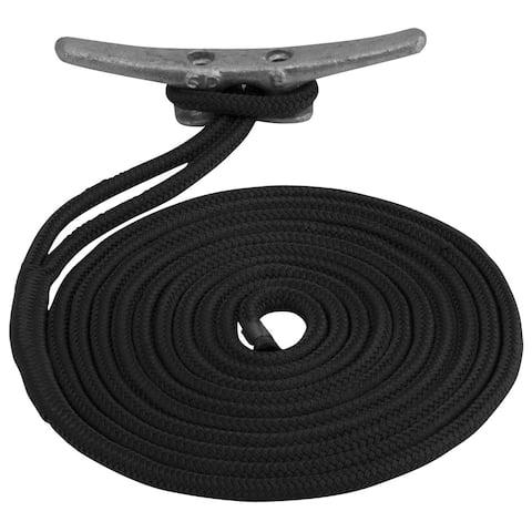 Sea-dog line sea dog double braided nylon dock line 5/8 x 15' black 302116015bk-1