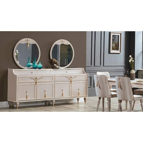 Dining Room Wood Buffet-Mirror Set Assembled Without Legs