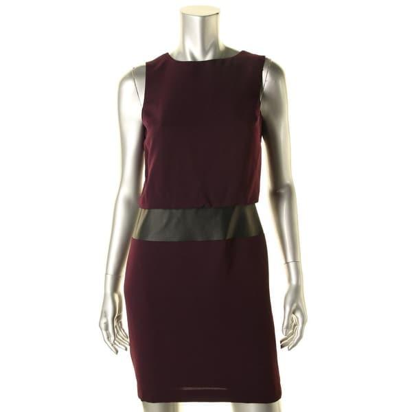 Lauren Ralph Lauren Womens Petites Wear to Work Dress Faux Leather Sleeveless