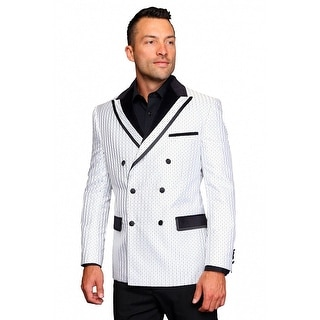 MZS-233 WHITE Men's SLIM FIT Manzini Fancy WOVEN, sport coat with black satin lapel, Double Breasted