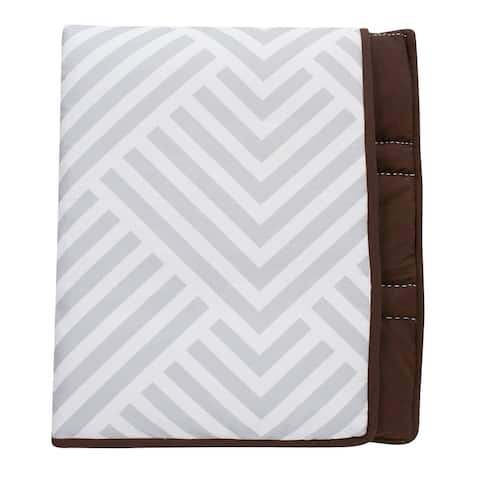 Lambs & Ivy Jett Collection Gray/White/Brown Modern Reversible Coverlet Baby/Toddler Quilt