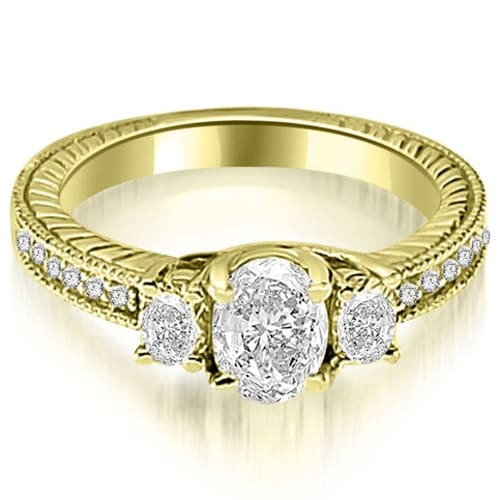 1.25 cttw. 14K Yellow Gold Antique Three Stone Oval Diamond Engagement Ring