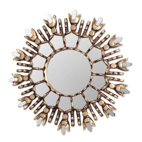 "Handmade King Of Light Bronze Gilded Cedar Wood Wall Mirror (Peru) - 1.2"" H x 11.5"" Diam."