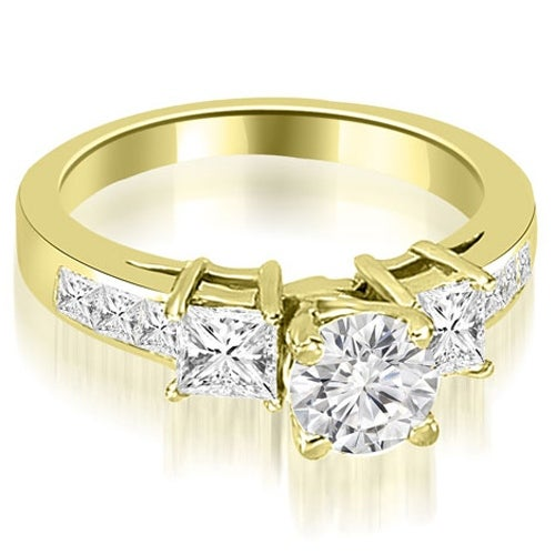1.75 cttw. 14K Yellow Gold Channel Princess and Round Diamond Engagement Ring