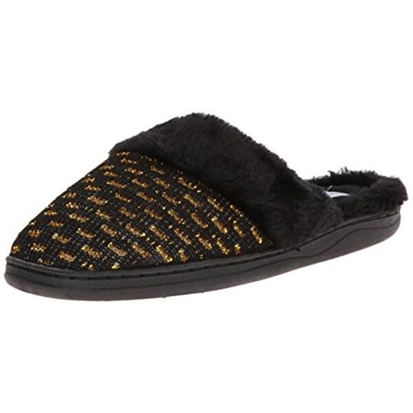 Gold Toe Womens Mule Slippers Metallic Faux Fur
