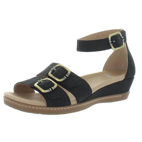 Dansko Womens Astrid Milled Flat Sandals Suede Ankle - Black