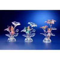 """Pack of 6 Icy Crystal Illuminated Decorative Fairy with Flower Figurines 6"""""""