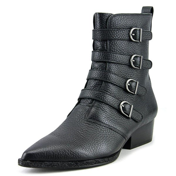 Calvin Klein Jeans Kitty Women Pointed Toe Leather Black Ankle Boot