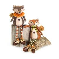 Set of 4 Brown and Orange Decorative Fox Plush Animal Stuffed Figures 20""