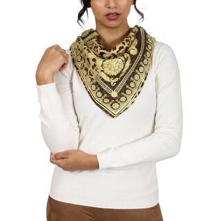 Versace Brown/Gold Leo Print Silk Foulard Scarf - 34-34