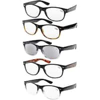 Eyekepper 5-pack Spring Hinges 80's Acetate Reading Glasses Includes Sun Readers +1.00