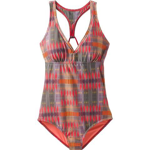 Prana Womens Orange Brown Size Small S Cross Back One-Piece Swimwear