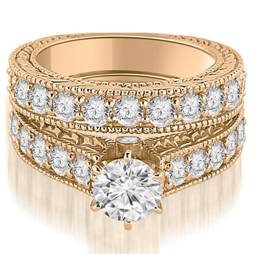 3.15 cttw. 14K Rose Gold Antique Cathedral Round Cut Diamond Engagement Set,HI,SI1-2
