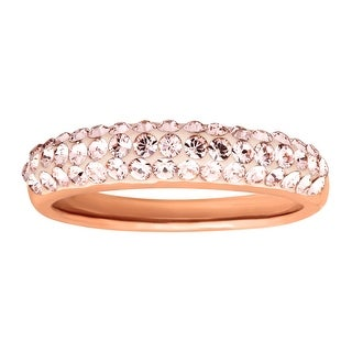 Crystaluxe Band Ring with Vintage Rose Swarovski Crystals in 14K Rose Gold-Plated Sterling Silver - Pink