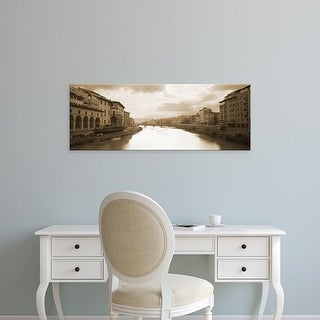 Easy Art Prints Panoramic Images's 'River passing through a city, Arno River, Florence, Italy' Premium Canvas Art
