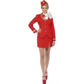 Trolley Dolly Uniform Costume Adult: Red