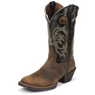 Justin Western Boots Mens Distressed Square Buffalo Tan Black 2531