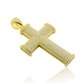 Yellow Gold-Tone Cross Charm With CZ 47mm Tall Sterling silver By MidwestJewellery