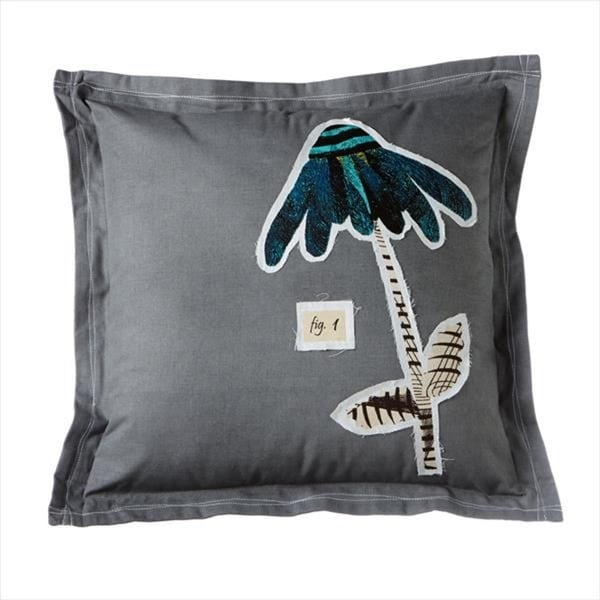 Pack of 2 Charcoal Gray Stitched Single Teal Flower Pillow 21""
