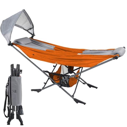 MOCK ONE Compact Portable Folding Hammock with Stand Includes Carrying Wrap and Sun Shade