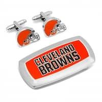 Cleveland Browns Cufflinks & Cushion Money Clip Gift Set, Silver