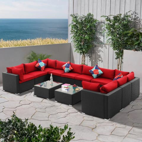 Zenova 12/9/8/6/5/4 Pieces Of PE Rattan Wicker Modular Sofa Set Patio Sofa With Pillows And Cushions