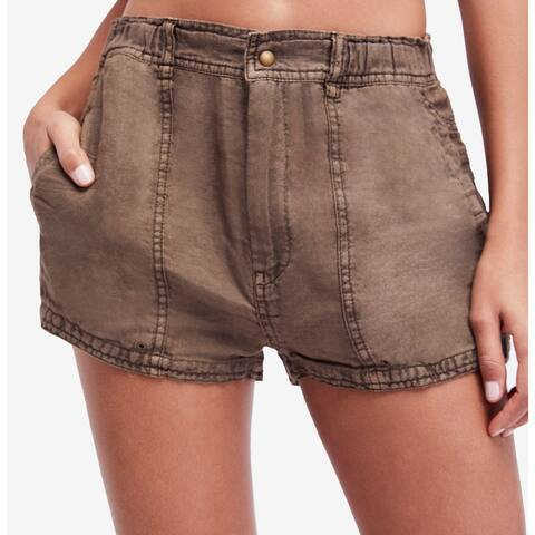 Free People Brown Women's Size 0 Linen Utility Casual Shorts