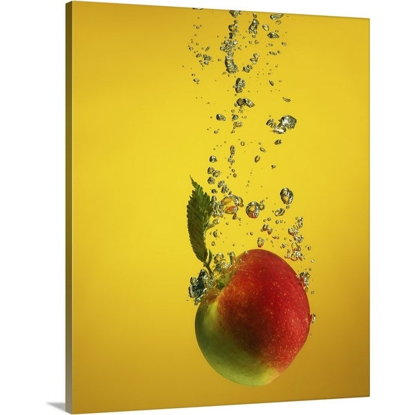 """""""An apple splashed into water"""" Canvas Wall Art"""