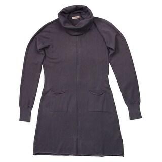 Cashmere Co. ID155058 VESTITO COLLO ALT GG Grey Cashmere Blend Rolled Neck Dresses