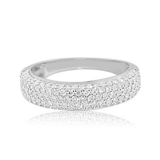 1cttw Diamond Wedding Band Ring Mens 10K White Gold 6mm Wide Dome Shaped (i2/i3, I/j)