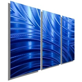 Statements2000 3-Panel Blue Modern Metal Wall Art Painting by Jon Allen - Blue Synchronicity 3P